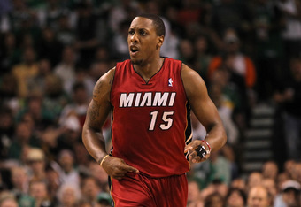 BOSTON, MA - JUNE 07:  Mario Chalmers #15 of the Miami Heat reacts in the first quarter against the Boston Celtics  in Game Six of the Eastern Conference Finals in the 2012 NBA Playoffs on June 7, 2012 at TD Garden in Boston, Massachusetts. NOTE TO USER: