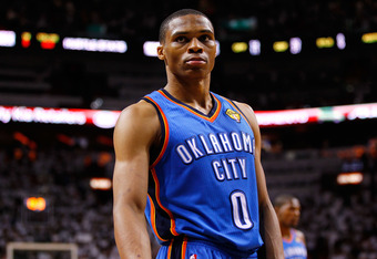 MIAMI, FL - JUNE 17:  Russell Westbrook #0 of the Oklahoma City Thunder looks on against the Miami Heat in the second half of Game Three of the 2012 NBA Finals on June 17, 2012 at American Airlines Arena in Miami, Florida.  NOTE TO USER: User expressly ac