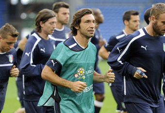 POZNAN, POLAND - JUNE 13:  Andrea Pirlo of Italy during a UEFA EURO 2012 training session at the Municipal Stadium on June 13, 2012 in Poznan, Poland.