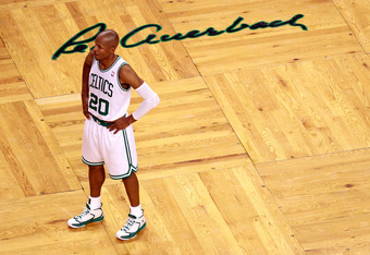 BOSTON, MA - JUNE 07:  Ray Allen #20 of the Boston Celtics looks on in the first half against the Miami Heat in Game Six of the Eastern Conference Finals in the 2012 NBA Playoffs on June 7, 2012 at TD Garden in Boston, Massachusetts. NOTE TO USER: User ex