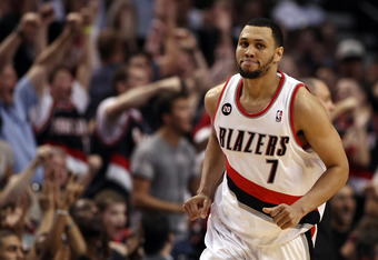 PORTLAND, OR - APRIL 23:  Brandon Roy #7 of the Portland Trail Blazers runs down court after making a shot to overcome a 23 point deficit to defeat the the Dallas Mavericks 84-82 in Game Four of the Western Conference Quarterfinals in the 2011 NBA Playoff