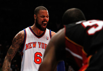 NEW YORK, NY - MAY 06:  Tyson Chandler #6 of the New York Knicks reacts against the Miami Heat in the second half of Game Four of the Eastern Conference Quarterfinals in the 2012 NBA Playoffs on May 6, 2012 at Madison Square Garden in New York City. NOTE
