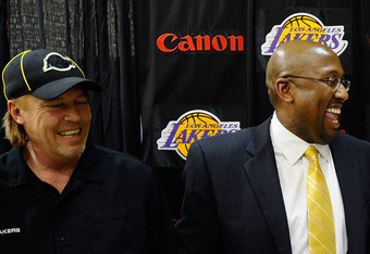 Lakers Vice President Jim Buss was easily wooed by Mike Brown's video presentation in 2011.