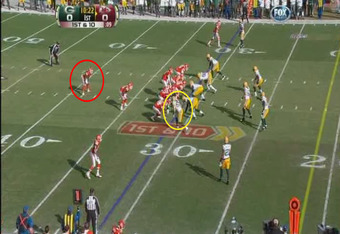 Matthews lines up to the Packers' left, Thomas Jones well behind Kyle Orton (footage courtesy of FOX)