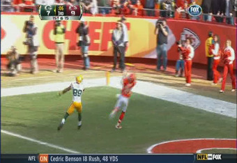 —until for some reason Jones slows way down at the goal line  (footage courtesy of FOX)