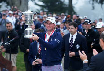 SAN FRANCISCO, CA - JUNE 17:  Webb Simpson of the United States celebrates with the trophy alongside Glen Nager, President of the USGA. after Simpson's one-stroke victory at the 112th U.S. Open at The Olympic Club on June 16, 2012 in San Francisco, Califo