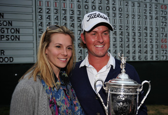 SAN FRANCISCO, CA - JUNE 17:  Webb Simpson of the United States poses his wife Dowd and the trophy after his one-stroke victory at the 112th U.S. Open at The Olympic Club on June 16, 2012 in San Francisco, California.  (Photo by Stuart Franklin/Getty Imag