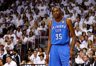 MIAMI, FL - JUNE 17:  Kevin Durant #35 of the Oklahoma City Thunder looks on in the first half against the Miami Heat in Game Three of the 2012 NBA Finals on June 17, 2012 at American Airlines Arena in Miami, Florida.  NOTE TO USER: User expressly acknowl
