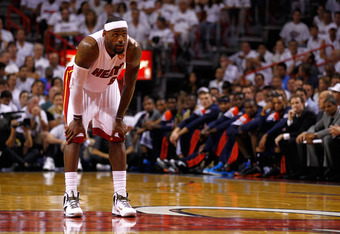 MIAMI, FL - JUNE 17:  LeBron James #6 of the Miami Heat looks on in the first half against the Oklahoma City Thunder  against the Oklahoma City Thunder in Game Three of the 2012 NBA Finals on June 17, 2012 at American Airlines Arena in Miami, Florida.  NO