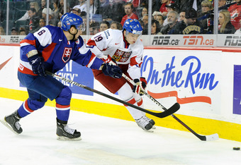CALGARY, CANADA - JANUARY 4:  Tomas Hertl #19 of Team Czech Republic skates with the puck while being defended by Peter Trska #6 of Team Slovakia during the 2012 World Junior Hockey Championship Fifth Place game at the Scotiabank Saddledome on January 4,