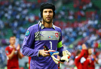 WROCLAW, POLAND - JUNE 12:  Petr Cech of Czech Republic looks on during the UEFA EURO 2012 group A match between Greece and Czech Republic at The Municipal Stadium on June 12, 2012 in Wroclaw, Poland  (Photo by Clive Mason/Getty Images)