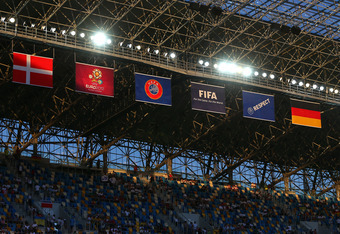 L'VIV, UKRAINE - JUNE 17:  A general view of the stadium flags during the UEFA EURO 2012 group B match between Denmark and Germany at Arena Lviv on June 17, 2012 in L'viv, Ukraine.  (Photo by Martin Rose/Getty Images)
