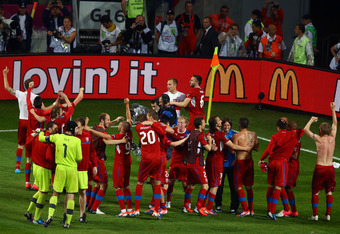 WROCLAW, POLAND - JUNE 16:  The Czech Republic team celebrate during the UEFA EURO 2012 group A match between Czech Republic and Poland at The Municipal Stadium on June 16, 2012 in Wroclaw, Poland.  (Photo by Clive Mason/Getty Images)