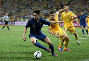 DONETSK, UKRAINE - JUNE 15:  Samir Nasri (L) of France in action against Yevhen Selin of Ukraine during the UEFA EURO 2012 group D match between Ukraine and France at Donbass Arena on June 15, 2012 in Donetsk, Ukraine.  (Photo by Julian Finney/Getty Image