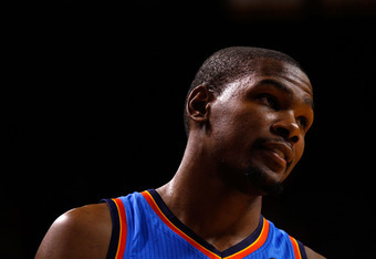 MIAMI, FL - JUNE 17:  Kevin Durant #35 of the Oklahoma City Thunder looks on in the second half against the Miami Heat in Game Three of the 2012 NBA Finals on June 17, 2012 at American Airlines Arena in Miami, Florida.  NOTE TO USER: User expressly acknow