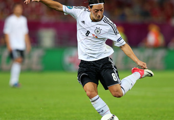 L'VIV, UKRAINE - JUNE 17:  Mesut Ozil of Germany in action during the UEFA EURO 2012 group B match between Denmark and Germany at Arena Lviv on June 17, 2012 in L'viv, Ukraine.  (Photo by Alex Livesey/Getty Images)