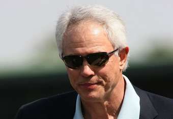 ARCADIA, CA - APRIL 03: General Manager Mitch Kupchak of the Los Angeles Lakers stands in the Winner's Circle before the 73rd running of the Grade I Santa Anita Derby on April 3, 2010 at Santa Anita Race Track in Arcadia, California. (Photo by Jeff Golden