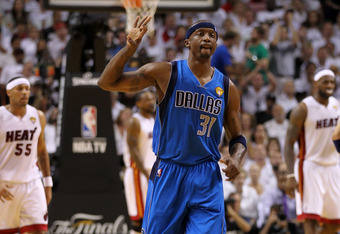 MIAMI, FL - JUNE 12:  Jason Terry #31 of the Dallas Mavericks gestures on court after he made a 3-point shot in the second quarter against Eddie House #55 (L) and LeBron James #6 of the Miami Heat in Game Six of the 2011 NBA Finals at American Airlines Ar