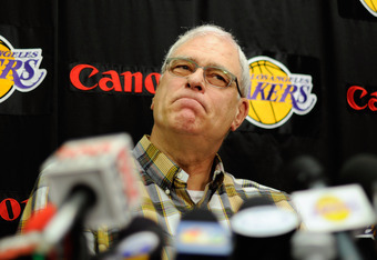 EL SEGUNDO, CA - MAY 11:  Phil Jackson, coach of the Los Angeles Lakers, speaks during his last official Lakers news conference at the team's training facility on May 11, 2011 in El Segundo, California. The Lakers were swept out of their best of seven ser