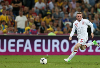 DONETSK, UKRAINE - JUNE 19: Wayne Rooney of England in action during the UEFA EURO 2012 group D match between England and Ukraine at Donbass Arena on June 19, 2012 in Donetsk, Ukraine.  (Photo by Scott Heavey/Getty Images)