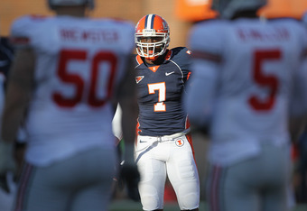 CHAMPAIGN, IL - OCTOBER 15: Supo Sanni #7 of the Illinois Fighting Illini awaits the start of play against the Ohio State Buckeyes at Memorial Stadium on October 15, 2011 in Champaign, Illinois. Ohio State defeated Illinois 17-7. (Photo by Jonathan Daniel