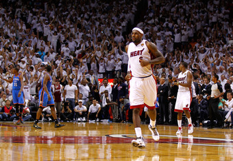 MIAMI, FL - JUNE 19:  LeBron James #6 of the Miami Heat runs up court in the second half against the Oklahoma City Thunder in Game Four of the 2012 NBA Finals on June 19, 2012 at American Airlines Arena in Miami, Florida. NOTE TO USER: User expressly ackn