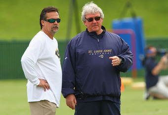 ST. LOUIS, MO - MAY 12: Head coach Jeff Fischer (left) and assistant head coach Dave McGinnis both of the St. Louis Rams talk during rookie mini camp at the ContinuityX Training Center on May 12, 2012 in St. Louis, Missouri. (Photo by Dilip Vishwanat/Gett