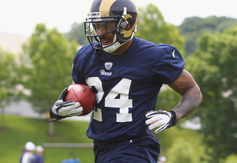 ST. LOUIS, MO - MAY 12: Isaiah Pead #24 of the St. Louis Rams makes a catch during rookie mini camp at the ContinuityX Training Center on May 12, 2012 in St. Louis, Missouri. (Photo by Dilip Vishwanat/Getty Images)