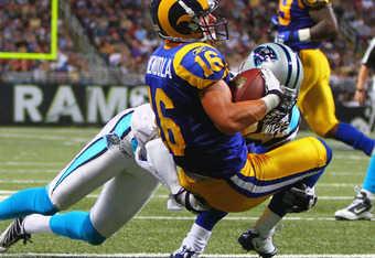 ST. LOUIS - OCTOBER 31: Danny Amendola #16 of the St. Louis Rams scores a touchdown against the Carolina Panthers at the Edward Jones Dome on October 31, 2010 in St. Louis, Missouri.  The Rams beat the Panthers 20-10.  (Photo by Dilip Vishwanat/Getty Imag