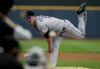 MILWAUKEE, WI - APRIL 21: Drew Pomeranz #13 of the Colorado Rockies pitches against the Milwaukee Brewers during the game at Miller Park on April 21, 2012 in Milwaukee, Wisconsin. (Photo by Mike McGinnis/Getty Images)