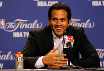 MIAMI, FL - JUNE 19:  Head coach Erik Spoelstra of the Miami Heat smiles during his post game press conference against the Oklahoma City Thunder in Game Four of the 2012 NBA Finals on June 19, 2012 at American Airlines Arena in Miami, Florida. NOTE TO USE