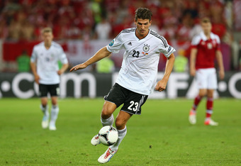 L'VIV, UKRAINE - JUNE 17:  Mario Gomez of Germany in action during the UEFA EURO 2012 group B match between Denmark and Germany at Arena Lviv on June 17, 2012 in L'viv, Ukraine.  (Photo by Martin Rose/Getty Images)