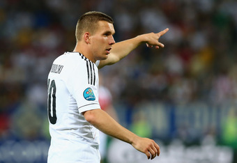 L'VIV, UKRAINE - JUNE 17: Lukas Podolski of Germany gestures during the UEFA EURO 2012 group B match between Denmark and Germany at Arena Lviv on June 17, 2012 in L'viv, Ukraine.  (Photo by Martin Rose/Getty Images)