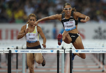 ZURICH, SWITZERLAND - AUGUST 19:  Lolo Jones (r) of USA in the women's 100m hurdles during the Iaaf Diamond League meeting at the Letzigrund Stadium on August 19, 2010 in Zurich, Switzerland.  (Photo by Michael Steele/Getty Images)