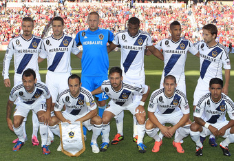 SANDY, UT - JUNE 20: Players of Los Angeles Galaxy pose for a picture before a game against Real Salt Lake at an MLS soccer game June 20, 2012 at Rio Tinto Stadium in Sandy, Utah. Los Angeles Galaxy beat Real Salt lake 3-2. (Photo by George Frey/Getty Ima