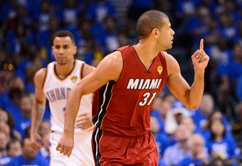 OKLAHOMA CITY, OK - JUNE 12:  Shane Battier #31 of the Miami Heat reacts in front of Thabo Sefolosha #2 of the Oklahoma City Thunder in the first quarter in Game One of the 2012 NBA Finals at Chesapeake Energy Arena on June 12, 2012 in Oklahoma City, Okla