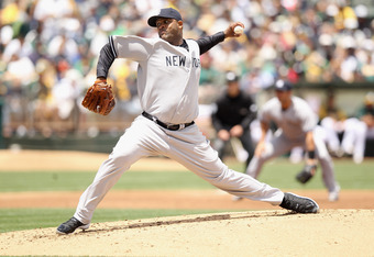 OAKLAND, CA - MAY 26:  CC Sabathia #52 of the New York Yankees pitches against the Oakland Athletics at O.co Coliseum on May 26, 2012 in Oakland, California.  (Photo by Ezra Shaw/Getty Images)