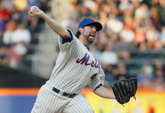 NEW YORK, NY - JUNE 18: R.A. Dickey #43 of the New York Mets pitches in the first-inning against the Baltimore Orioles at CitiField on June 18, 2012 in the Flushing neighborhood of the Queens borough of New York City.  (Photo by Mike Stobe/Getty Images)