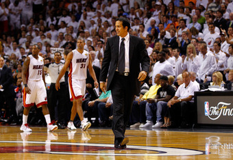 MIAMI, FL - JUNE 19:  Head coach Erik Spoelstra of the Miami Heat walks up court against the Oklahoma City Thunder in Game Four of the 2012 NBA Finals on June 19, 2012 at American Airlines Arena in Miami, Florida. The Heat won 104-98. NOTE TO USER: User e