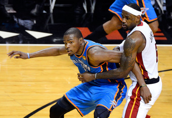 MIAMI, FL - JUNE 19:  Kevin Durant #35 of the Oklahoma City Thunder fighte for position against LeBron James #6 of the Miami Heat in Game Four of the 2012 NBA Finals on June 19, 2012 at American Airlines Arena in Miami, Florida. NOTE TO USER: User express