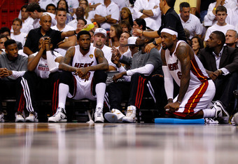 MIAMI, FL - JUNE 19:  LeBron James #6 of the Miami Heat looks on from the bench late in the fourth quarter against the Oklahoma City Thunder in Game Four of the 2012 NBA Finals on June 19, 2012 at American Airlines Arena in Miami, Florida. NOTE TO USER: U