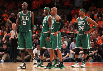NEW YORK, NY - APRIL 24:  (L-R) Kevin Garnett #5, Jermaine O'Neal #7, Ray Allen #20 and Paul Pierce #34 of the Boston Celtics look on against the New York Knicks in Game Four of the Eastern Conference Quarterfinals during the 2011 NBA Playoffs on April 24