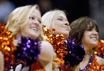 ATLANTA, GA - MARCH 08:  Cheerleaders of the Clemson Tigers during their first round game of 2012 ACC Men's Basketball Conferene Tournament at Philips Arena on March 8, 2012 in Atlanta, Georgia.  (Photo by Streeter Lecka/Getty Images)