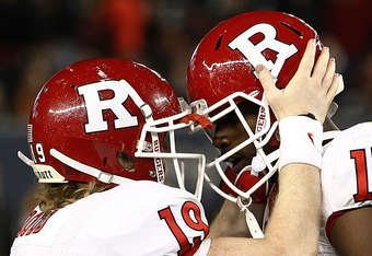 NEW YORK - DECEMBER 30:  Chas Dodd #19 and Brandon Coleman #17 of the Rutgers Scarlet Knights celebrate a touchdown against the Iowa State Cyclones during the New Era Pinstripe Bowl at Yankee Stadium on December 30, 2011 in the Bronx Borough of New York C