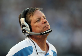 SAN DIEGO, CA - NOVEMBER 27:  Head Coach Norv Turner of the San Diego Chargers looks on from the sidelines against the Denver Broncos during their NFL Game on November 27, 2011 at Qualcomm Stadium in San Diego, California. The Broncos won 16-13 in overtim