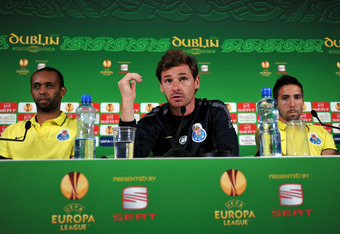 DUBLIN, ENGLAND - MAY 17:  In this UEFA handout image FC Porto coach Andres Villas-Boas (C), captain and goalkeeper Helton (L) and Joao Moutinho listen during the FC Porto press conference ahead of the UEFA Europa League final match against SC Braga at Du