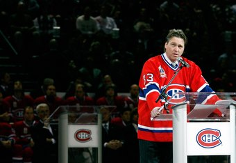 MONTREAL- NOVEMBER 22:   Former Montreal Canadiens goalie Patrick Roy speaks to fans during his retirement ceremony before the game against the Boston Bruins at the Bell Centre on November 22, 2008 in Montreal, Quebec, Canada.  The Bruins defeated the Can