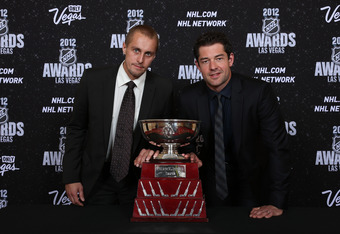 LAS VEGAS, NV - JUNE 20:  Jaroslav Halak and Brian Elliott of the St. Louis Blues pose after winning the William M. Jennings Trophy during the 2012 NHL Awards at the Encore Theater at the Wynn Las Vegas on June 20, 2012 in Las Vegas, Nevada.  (Photo by Br