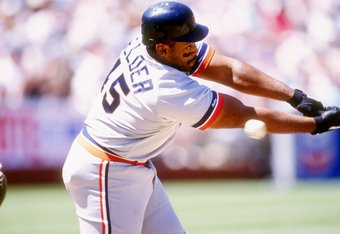 1991:  First baseman Cecil Fielder of the Detroit Tigers at bat during a game against the Oakland Athletics at the Oakland-Alameda County Coliseum in Oakland, California. Mandatory Credit: Otto Greule  /Allsport