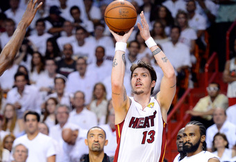 MIAMI, FL - JUNE 21:  Mike Miller #13 of the Miami Heat attempts a shot in the first half against the Oklahoma City Thunder in Game Five of the 2012 NBA Finals on June 21, 2012 at American Airlines Arena in Miami, Florida. NOTE TO USER: User expressly ack